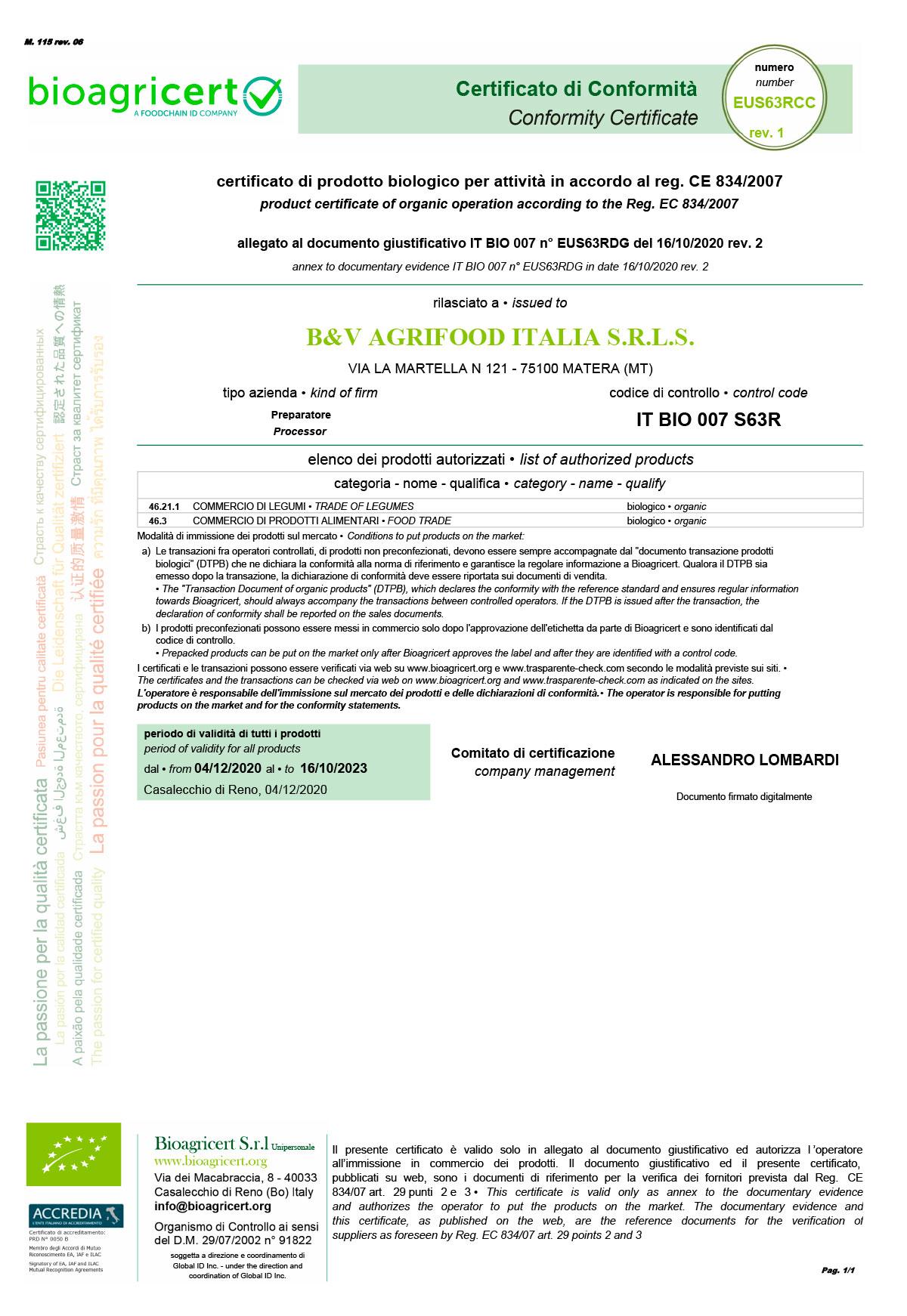 B&V-AgrifoodIT_EUS63RCC certificazione bio dimitria pasta olio legumi basilicata
